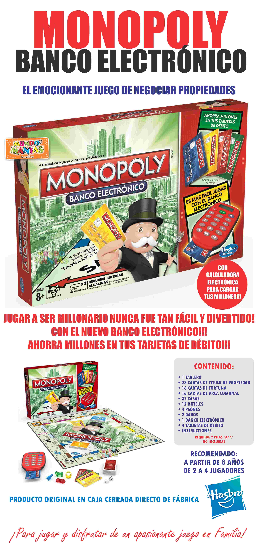 Monopoly Banco Electronico Juego De Mesa Hasbro Mundo Manias 999 0